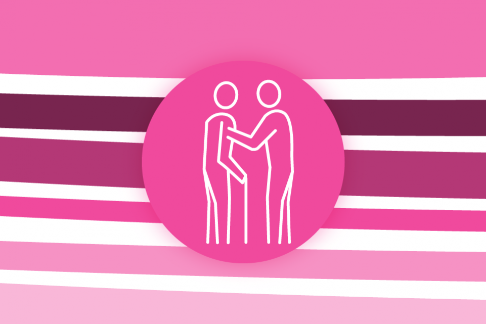 Re-thinking local: supporting vulnerable people - pink stripes on a white background with a pink icon of an elderly person with a cane in the foreground